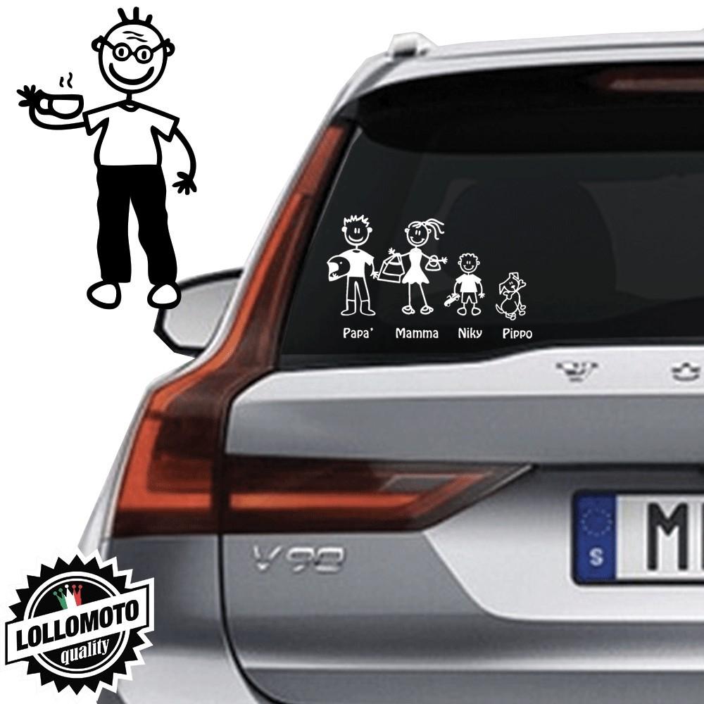 Nonno Con Caffe' Vetro Auto Famiglia StickersFamily Stickers
