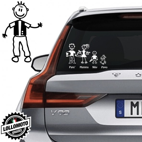 Nonno Con Gilet Vetro Auto Famiglia StickersFamily Stickers Family Decal