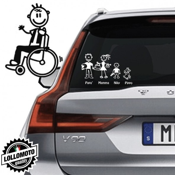 Nonno Diversamente Abile Vetro Auto Famiglia StickersFamily Stickers Family Decal