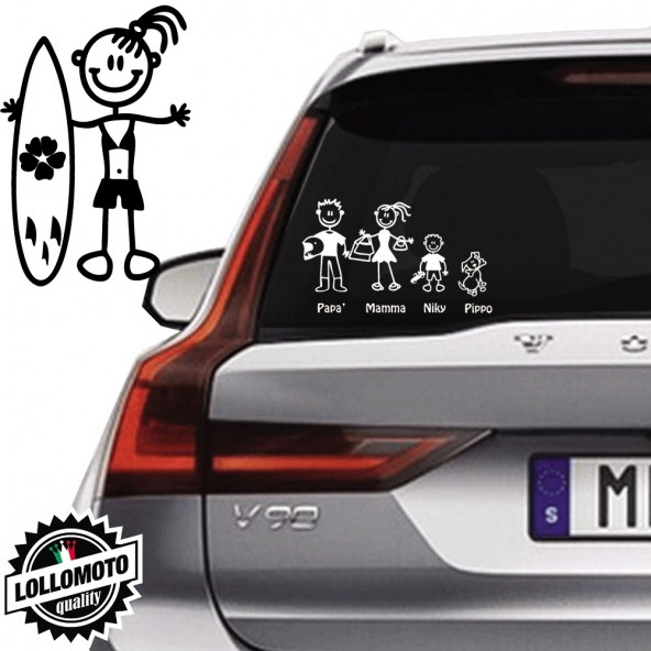 Ragazza Con Surf Vetro Auto Famiglia StickersFamily Stickers Family Decal