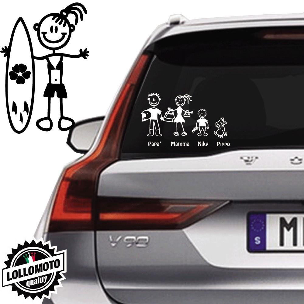 Ragazza Con Surf Vetro Auto Famiglia StickersFamily Stickers