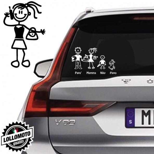 Ragazza Con Borsa e Cellulare Vetro Auto Famiglia StickersFamily Stickers Family Decal
