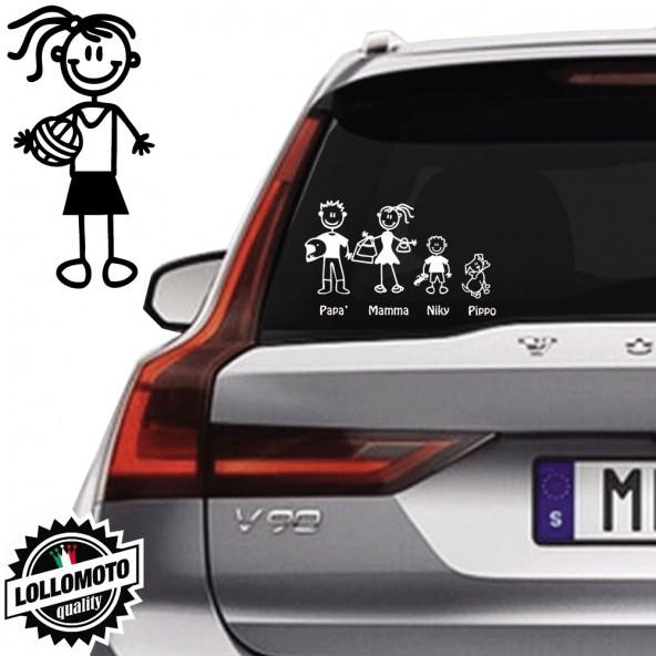 Ragazza Pallavolo Vetro Auto Famiglia StickersFamily Stickers Family Decal