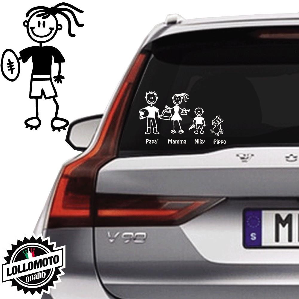 Ragazza Con Pallone da Rugby Vetro Auto Famiglia StickersFamily