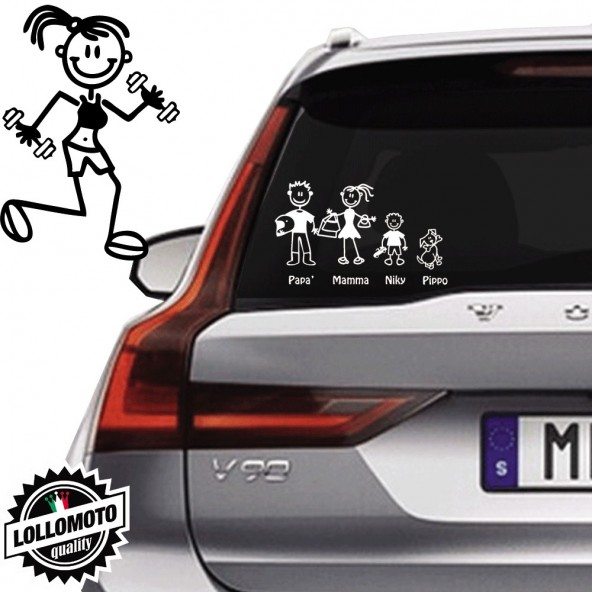 Ragazza Con Pesi Vetro Auto Famiglia StickersFamily Stickers Family Decal
