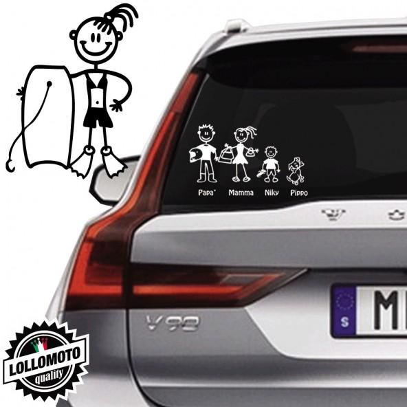 Ragazza Con Tavola Galleggiante Vetro Auto Famiglia StickersFamily Stickers Family Decal