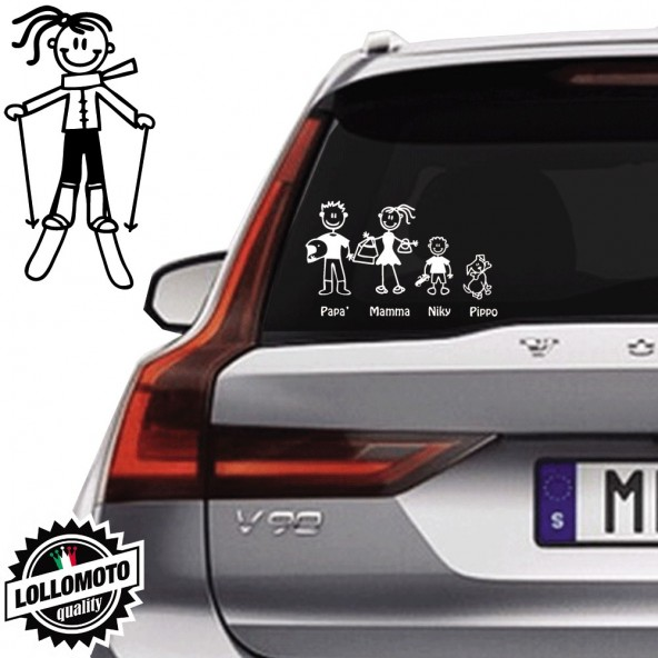 Ragazza Con Sci Vetro Auto Famiglia StickersFamily Stickers Family Decal