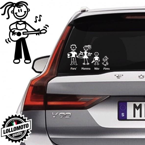 Ragazza Con Chitarra Vetro Auto Famiglia StickersFamily
