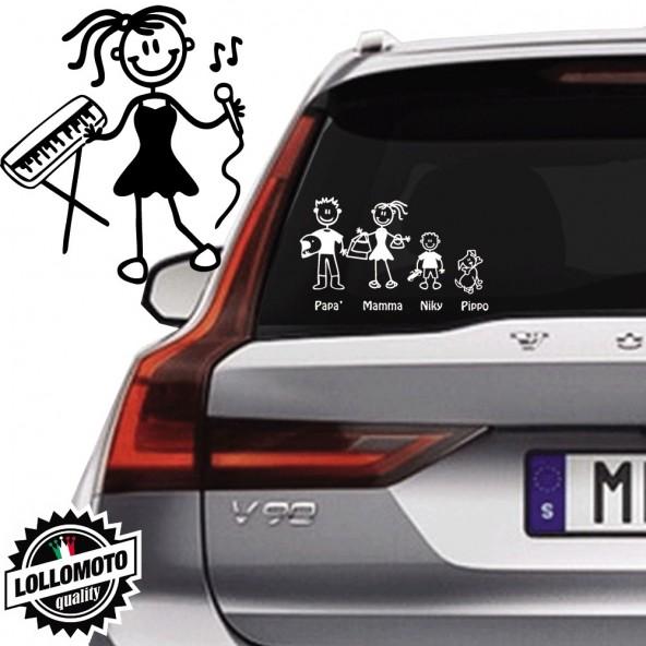 Ragazza Con Piano e Microfono Vetro Auto Famiglia StickersFamily Stickers Family Decal
