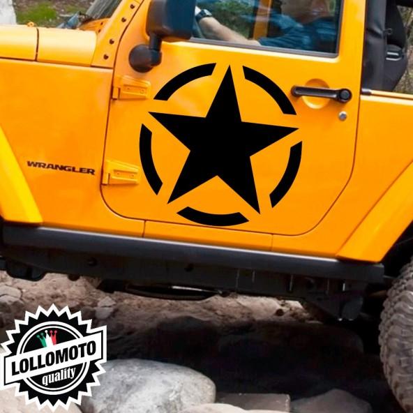 2x Stella Militare Adesive Fuoristrada Fiancate Cofano Jeep