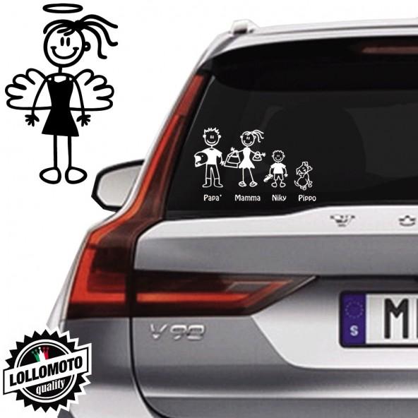 Ragazza Angelo Vetro Auto Famiglia StickersFamily Stickers Family Decal