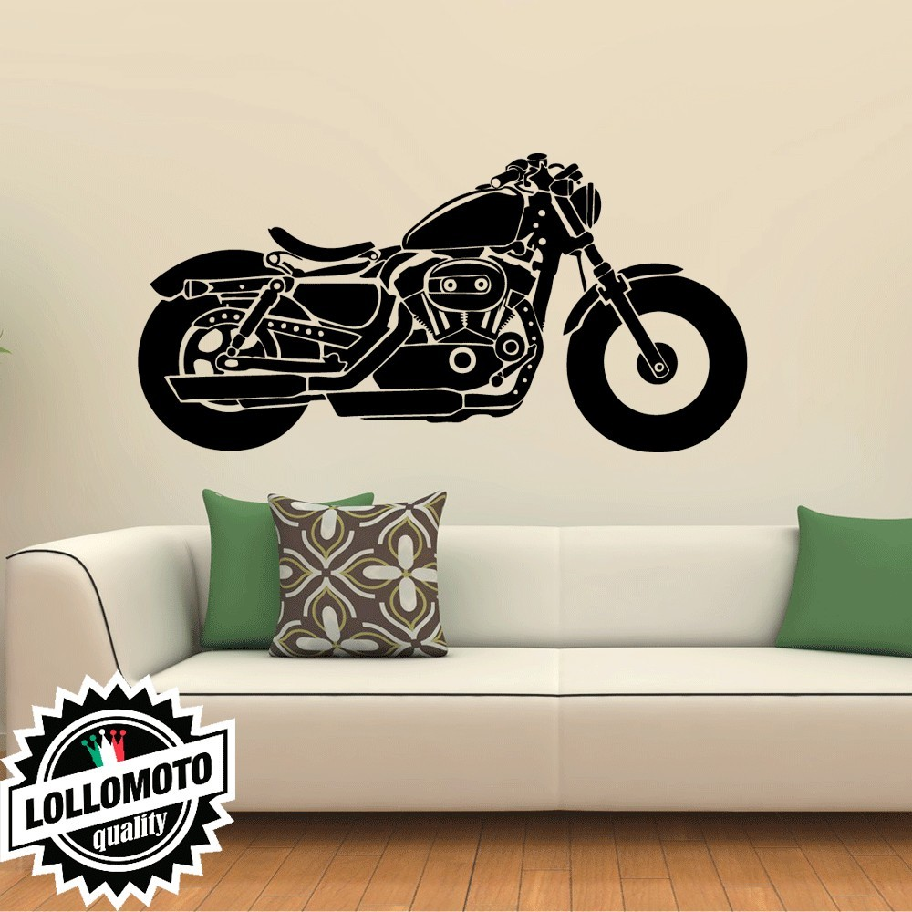Moto Custom Classic Bobber Shadow Wall Stickers Adesivo Murale