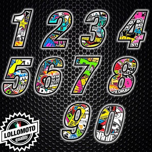 1x Adesivo Numero Gara Stickers Bomb Moto Cross Enduro Adesivi