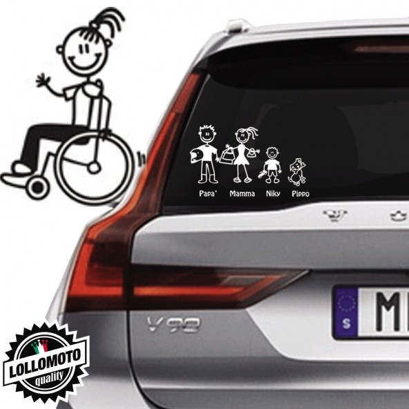 Ragazza Diversamente Abile Vetro Auto Famiglia StickersFamily Stickers Family Decal