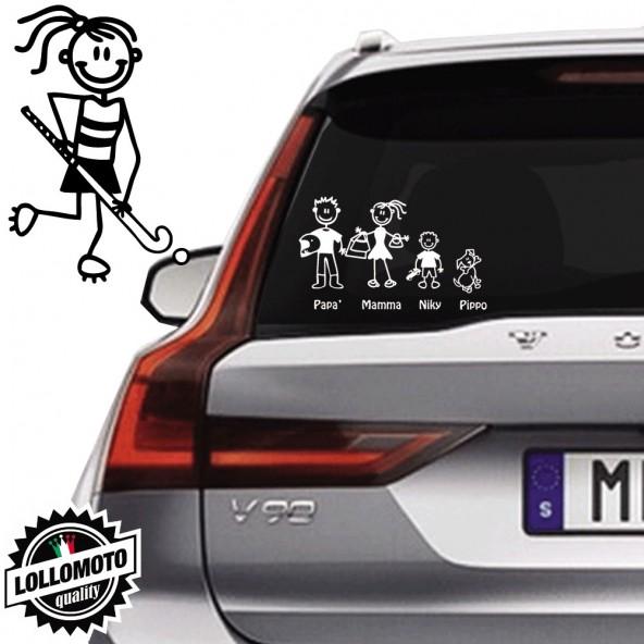 Ragazza Hockey Vetro Auto Famiglia StickersFamily Stickers Family Decal