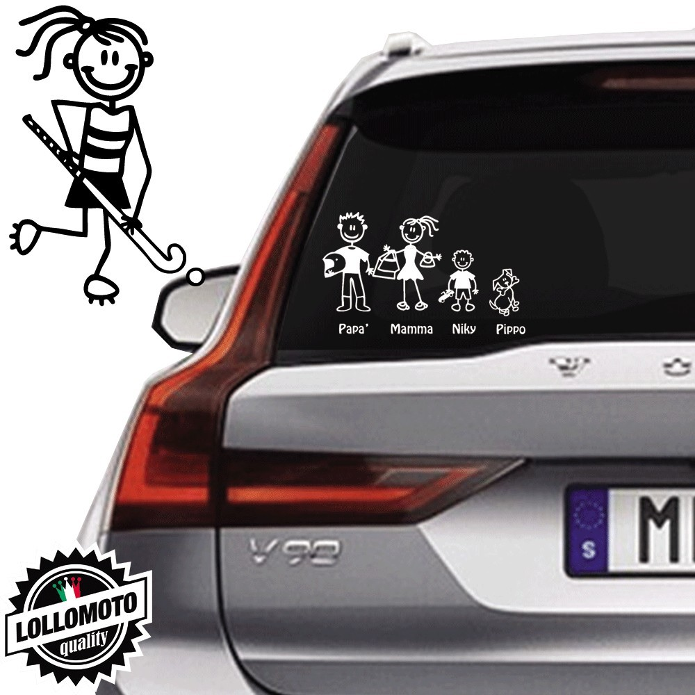 Ragazza Hockey Vetro Auto Famiglia StickersFamily Stickers